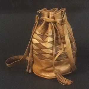 African Nigeria Leather Bucket Crossbody Bag